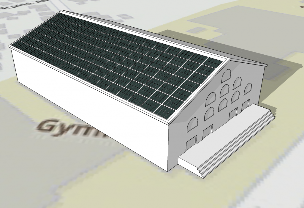 Sample rooftop solar PV project of Cousins Gym at Tufts University.