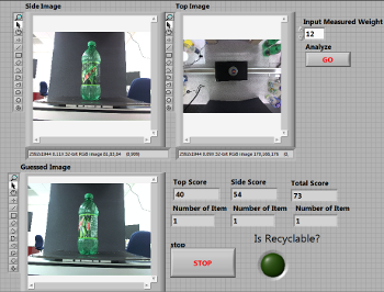 User-interface of the program showing bottle as seen by side and top cameras.
