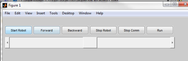 The MATLAB gui of the robot. The associated script is shared below.