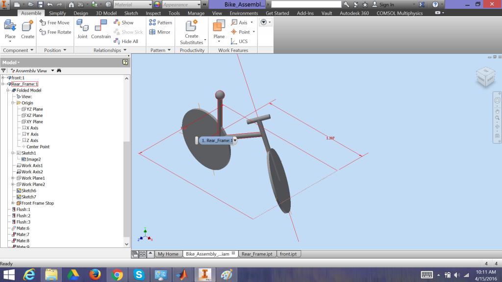 Screenshot of AutoCAD Inventor environment.