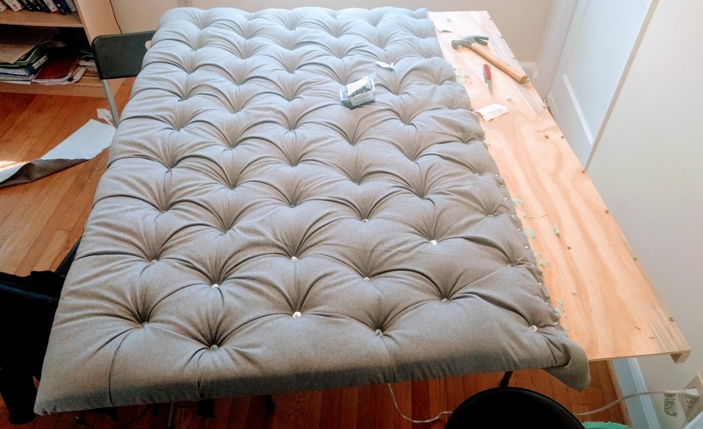The headboard at the of tufting step.