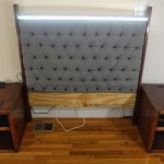 Image of a semi-finished tufted headboard w/ night stands. It includes integrated outlets, LED, dimmable lighting and selft-supporting structure.